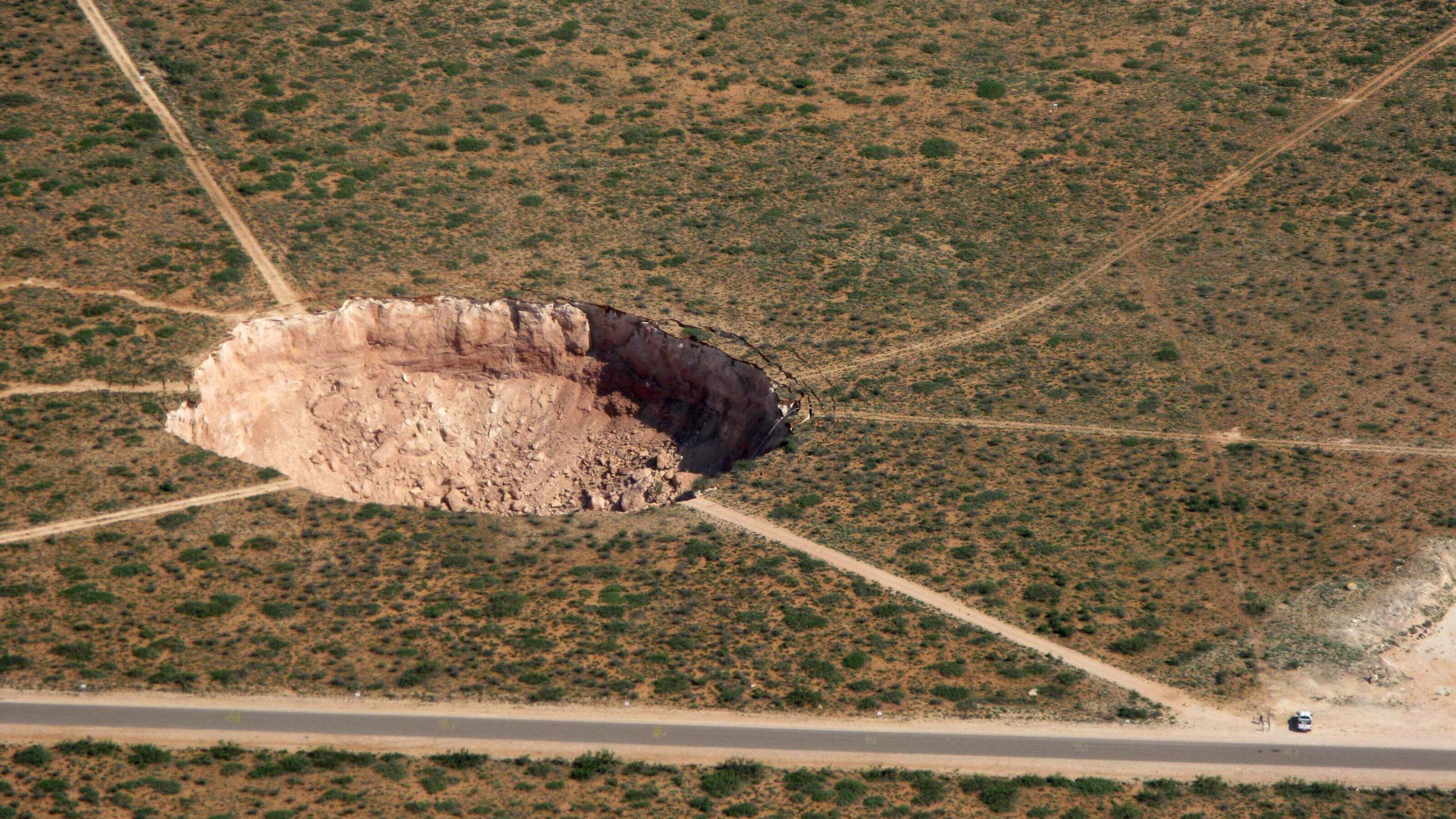 Land research shows a sinkhole in Eddy County, New Mexico