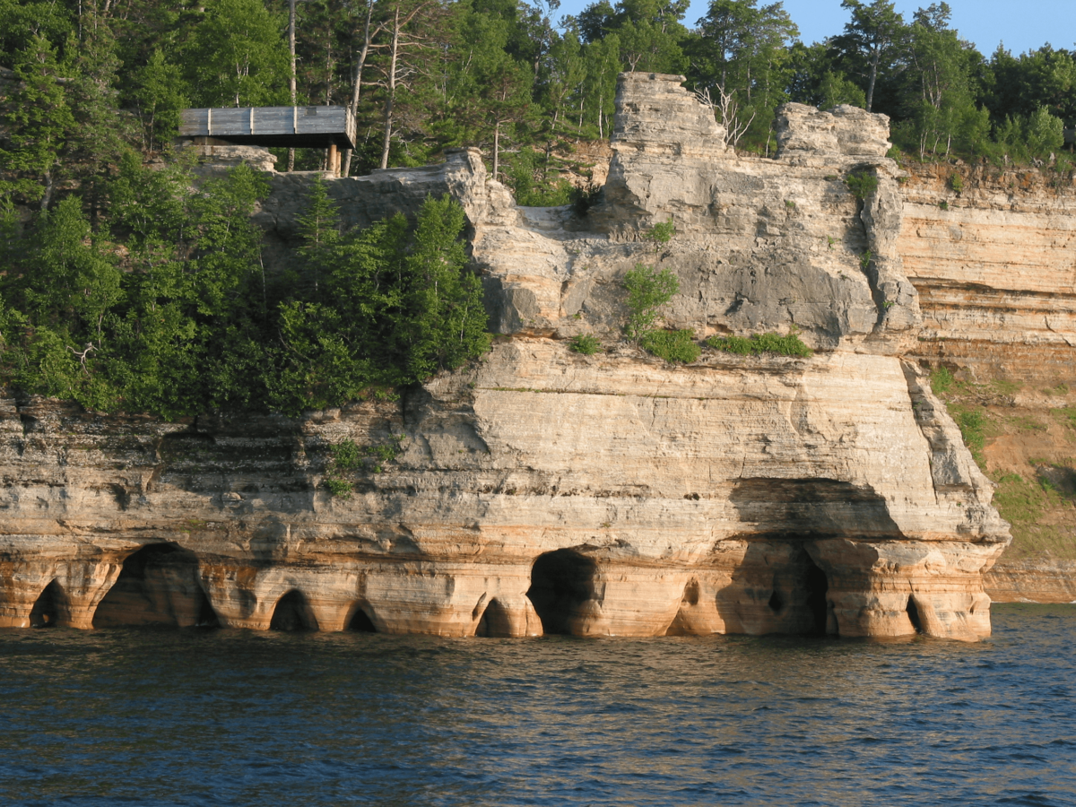 Caves off of the shore of Lake Superior in Michigan.